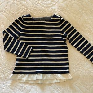 CrewCuts Stripped, Ruffled Long Sleeve Top